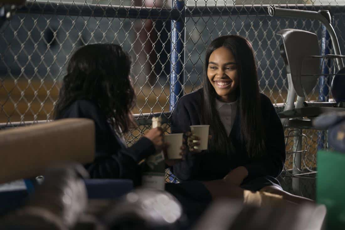 "Black Lightning -- ""LaWanda: The Book of Hope"" -- Image BLK102b_0017r.jpg -- Pictured (L-R): Kyanna Simone Simpson as Keisha and China Anne McClain as Jennifer Pierce -- Photo: Richard Ducree/The CW -- © 2018 The CW Network, LLC. All rights reserved."