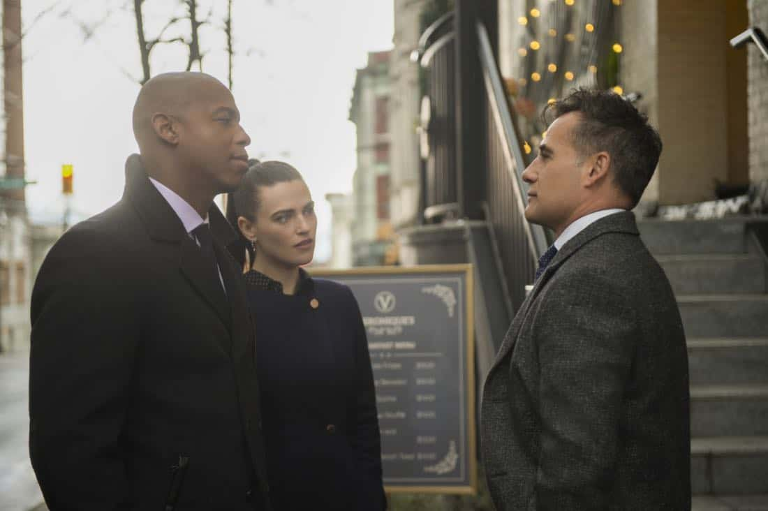 "Supergirl -- ""For Good"" -- Image Number: SPG312b_0216.jpg -- Pictured (L-R): Mehcad Brooks as James Olsen, Katie McGrath as Lena Luthor and Adrian Pasdar as Morgan Edge -- Photo: Diyah Pera/The CW -- © 2018 The CW Network, LLC. All Rights Reserved."