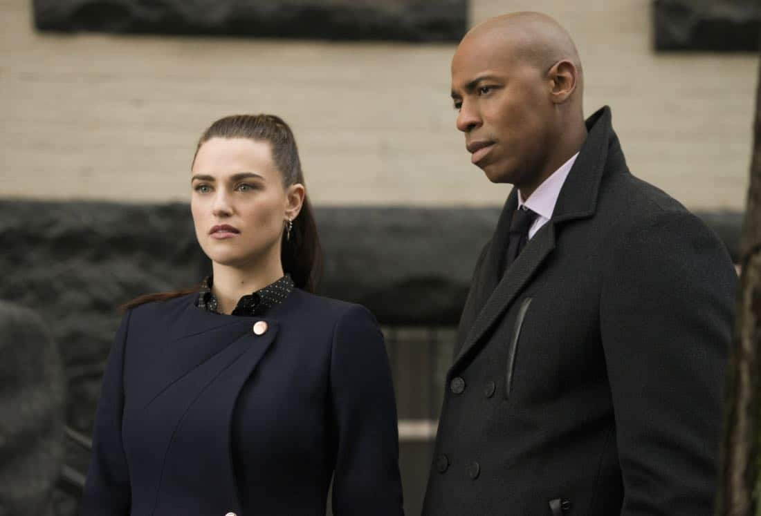 "Supergirl -- ""For Good"" -- Image Number: SPG312b_0291.jpg -- Pictured (L-R): Katie McGrath as Lena Luthor and Mehcad Brooks as James Olsen -- Photo: Diyah Pera/The CW -- © 2018 The CW Network, LLC. All Rights Reserved."