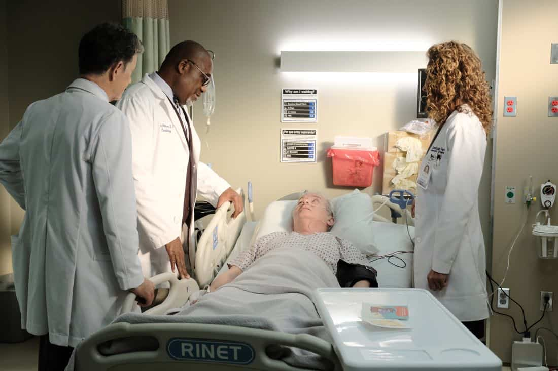 "THE RESIDENT: L-R: Bruce Greenwood, guest star Gregalan Williams, guest star Lindsay Ayliffe and Melina Kanakaredes in the ""Independence Day"" time period premiere episode of THE RESIDENT airing Monday, Jan. 22 (9:00-10:00 PM ET/PT) on FOX ©2017 Fox Broadcasting Co. Cr: Guy D'Alema/FOX"
