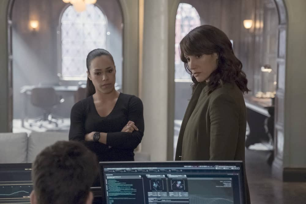 "TAKEN -- ""Hammurabi"" Episode 203-- Pictured: (l-r) Jessica Camacho as Santana, Jennifer Beals as Christina Hart -- (Photo by: Panagiotis Pantazidis/NBC)"