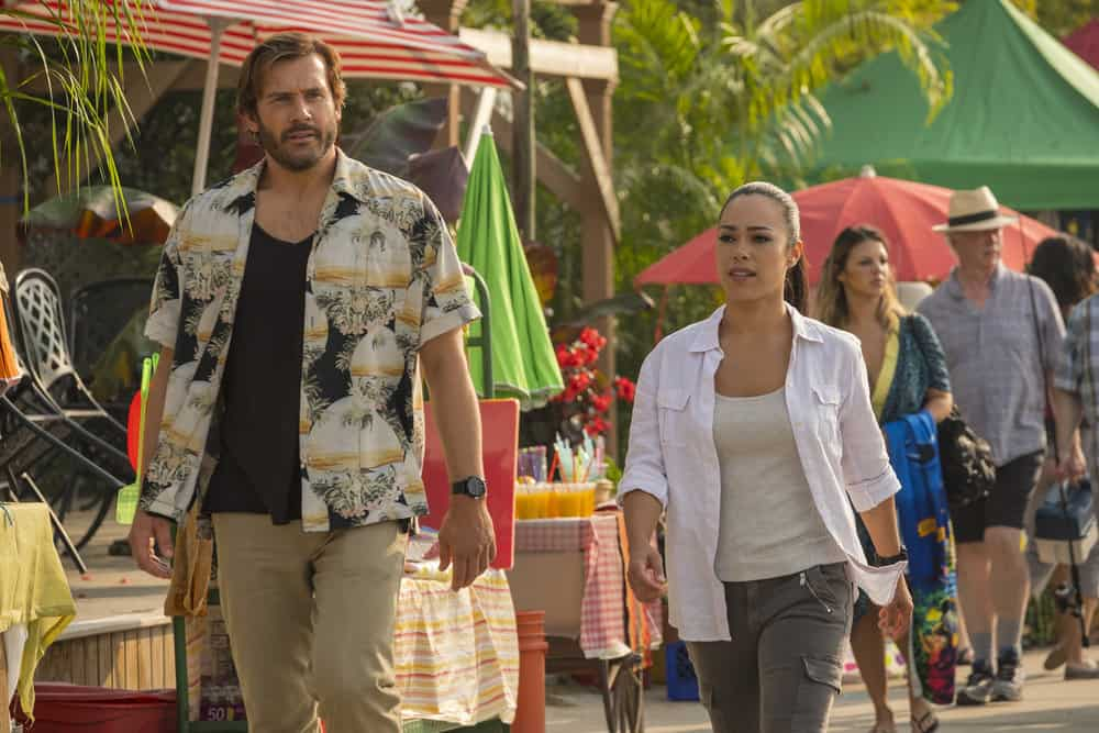 "TAKEN -- ""Hammurabi"" Episode 203 -- Pictured: (l-r) Clive Standen as Bryan Mills, Jessica Camacho as Santana -- (Photo by: Panagiotis Pantazidis/NBC)"