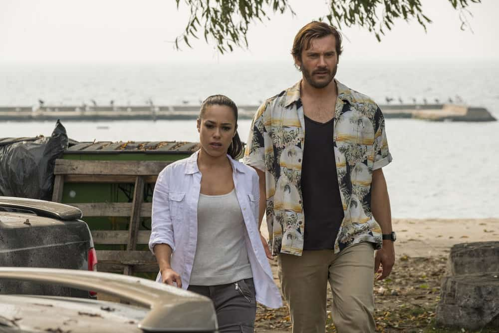 "TAKEN -- ""Hammurabi"" Episode 203 -- Pictured: (l-r) Jessica Camacho as Santana, Clive Standen as Bryan Mills -- (Photo by: Panagiotis Pantazidis/NBC)"