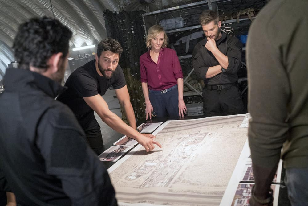 "THE BRAVE -- ""Close to Home: Part 2"" Episode 113 -- Pictured: (l-r) Noah Mills as Sergeant Joseph ""McG"" McGuire, Anne Heche as Patricia Campbell, Mike Vogel as Captain Adam Dalton -- (Photo by: Lewis Jacobs/NBC)"