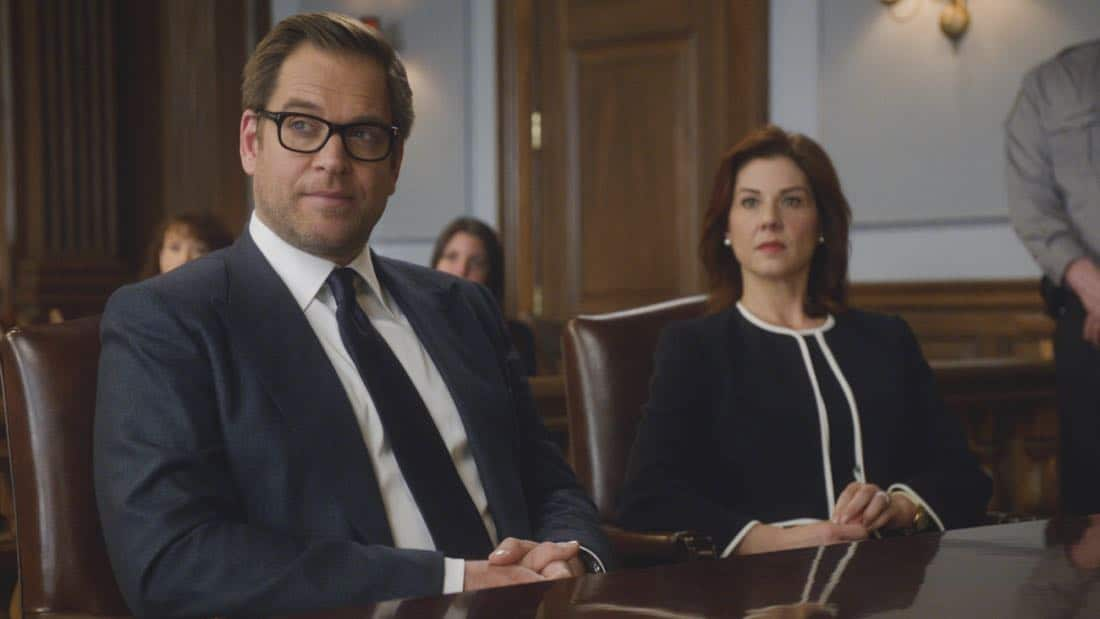 """Kill Shot"" -- A widow hires Bull to help represent her when the police decide that she is the most likely suspect in orchestrating her wealthy husband's death, making it look like a home invasion gone wrong, on BULL, Tuesday, Jan. 23 (9:00-10:00 PM, ET/PT) on the CBS Television Network. Pictured L-R: Michael Weatherly as Dr. Jason Bull and Stephanie Kurtzuba as Rebecca Hall Photo: CBS ©2018 CBS Broadcasting, Inc. All Rights Reserved"