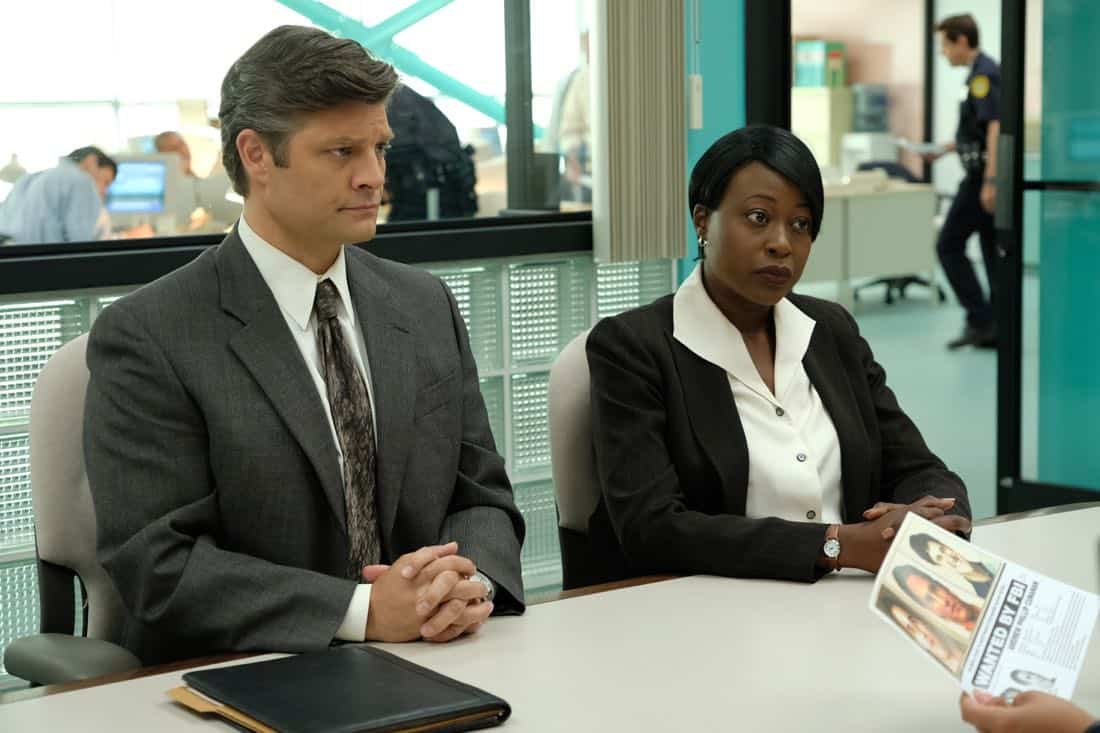 "THE ASSASSINATION OF GIANNI VERSACE: AMERICAN CRIME STORY ""Manhunt"" Episode 2 (Airs Wednesday. January 24, 10:00 p.m. e/p) -- Pictured: (l-r) Jay R. Ferguson as FBI Agent Evans, Christine Horn as FBI Agent Gruber. CR: Ray Mickshaw/FX"