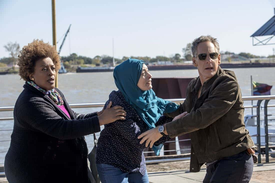"""""""A New Dawn"""" -- The NCIS team investigates the murder of a petty officer who was in town to help a refugee family being recruited by terrorists. Also, Wade works on the special election campaign for Mayor Zahra Taylor (Amanda Warren) that takes place during Mardi Gras, on NCIS: NEW ORLEANS, Tuesday, Feb. 6 (10:00-11:00 PM, ET/PT) on the CBS Television Network. Pictured L-R: CCH Pounder as Dr. Loretta Wade, Najla Said as Noora Saadi, and Scott Bakula as Special Agent Dwayne Pride Photo: Skip Bolen/CBS ©2017 CBS Broadcasting, Inc. All Rights Reserved"""