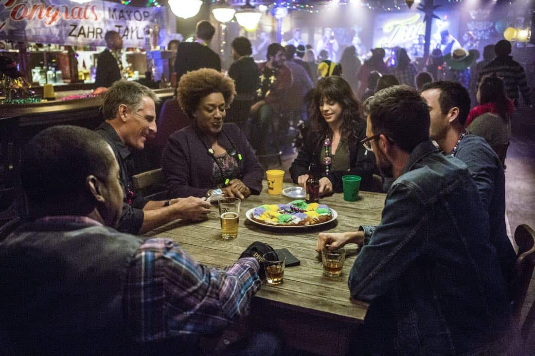 """""""A New Dawn"""" -- The NCIS team investigates the murder of a petty officer who was in town to help a refugee family being recruited by terrorists. Also, Wade works on the special election campaign for Mayor Zahra Taylor (Amanda Warren) that takes place during Mardi Gras, on NCIS: NEW ORLEANS, Tuesday, Feb. 6 (10:00-11:00 PM, ET/PT) on the CBS Television Network. Pictured L-R: Daryl Chill Mitchell as Patton Plame, Scott Bakula as Special Agent Dwayne Pride, CCH Pounder as Dr. Loretta Wade, Vanessa Ferlito as FBI Special Agent Tammy Gregorio, Rob Kerkovich as Forensic Scientist Sebastian Lund, and Lucas Black as Special Agent Christopher LaSalle Photo: Skip Bolen/CBS ©2017 CBS Broadcasting, Inc. All Rights Reserved"""