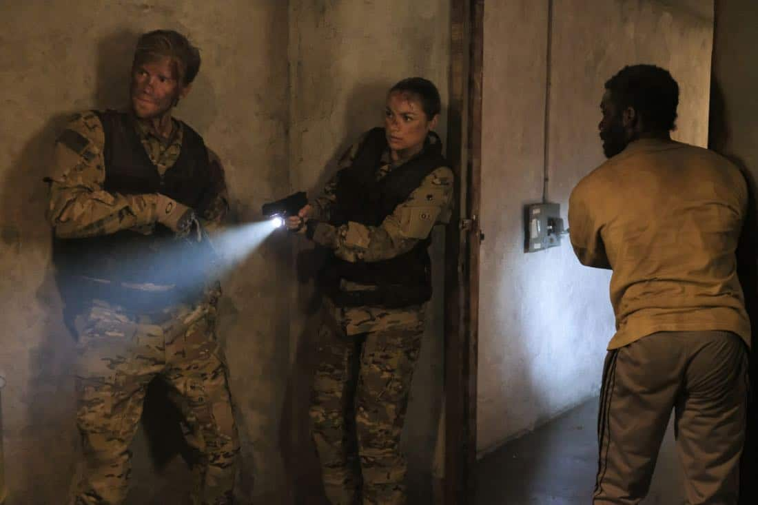 "Valor -- ""Costs of War"" -- Image Number: VAL113c_0211b.jpg -- Pictured (L-R): Matt Barr as Captain Leland Gallo, Christina Ochoa as Warrant Officer Nora Madani and W. Tre Davis as Warrant Officer Jimmy Kam -- Photo: Erika Doss -- © 2017 The CW Network, LLC All Rights Reserved."