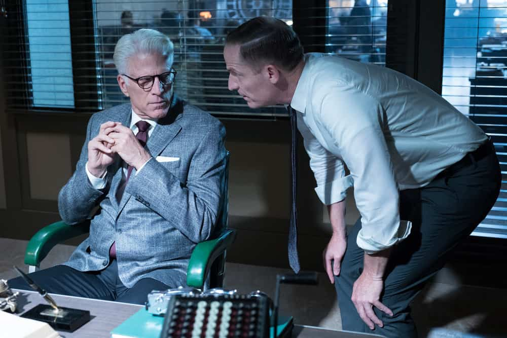 "THE GOOD PLACE -- ""The Burrito"" Episode 212 -- Pictured: (l-r) Ted Danson as Michael, Marc Evan Jackson as Shawn -- (Photo by: Colleen Hayes/NBC)"
