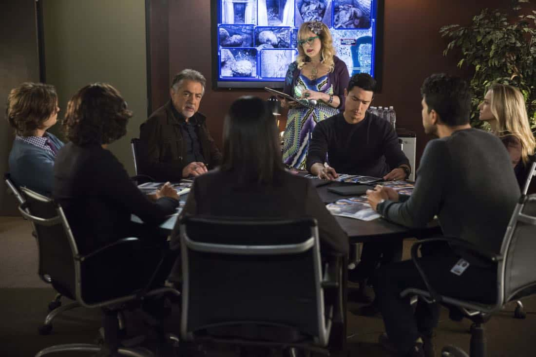 """Miasma"" -- The BAU is called when the New Orleans P.D. discovers a mass grave inside a vandalized above-ground crypt in a local cemetery, on CRIMINAL MINDS, Wednesday, Jan. 31 (10:00-11:00 PM, ET/PT) on the CBS Television Network. Pictured: Joe Mantegna (David Rossi), Kirsten Vangsness (Penelope Garcia), Daniel Henney (Matt Simmons), A.J. Cook (Jennifer Jareau) Photo: Cliff Lipson/CBS ©2017 CBS Broadcasting, Inc. All Rights Reserved"