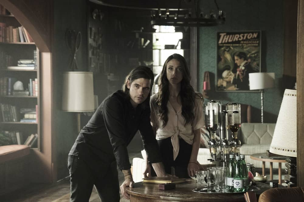 "THE MAGICIANS -- ""Be the Penny"" Episode 304 -- Pictured: (l-r) Jason Ralph as Quentin Coldwater, Stella Maeve as Julia Wicker -- (Photo by: Eric Milner/Syfy)"