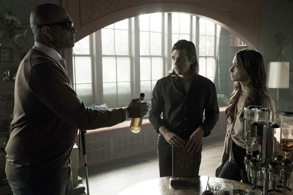 "THE MAGICIANS -- ""Be the Penny"" Episode 304 -- Pictured: (l-r) Rick Worthy as Dean Fogg, Jason Ralph as Quentin Coldwater -- (Photo by: Eric Milner/Syfy)"