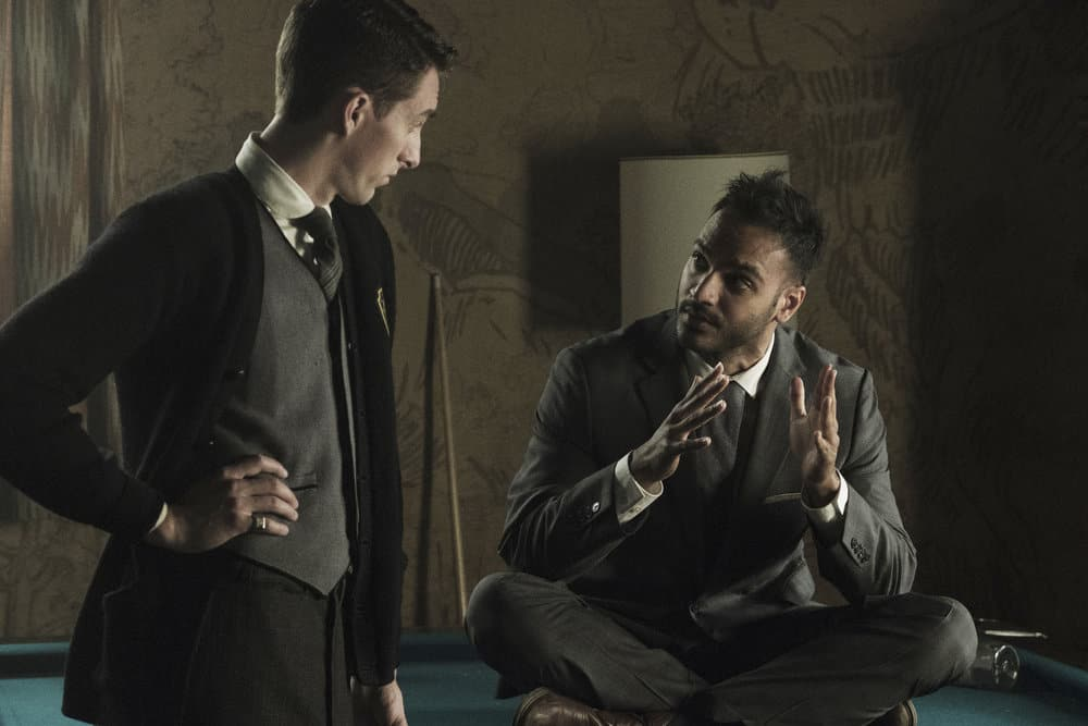 "THE MAGICIANS -- ""Be the Penny"" Episode 304 -- Pictured: (l-r) Dustin Ingram as Hyman Cooper, Arjun Gupta as Penny Adiyodi -- (Photo by: Eric Milner/Syfy)"