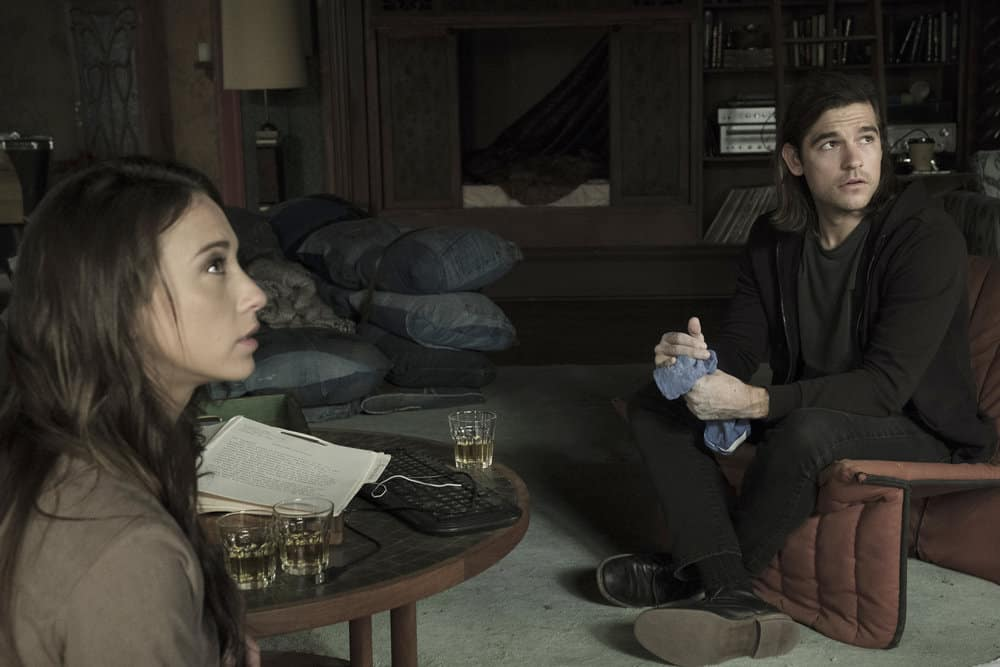"THE MAGICIANS -- ""Be the Penny"" Episode 304 -- Pictured: (l-r) Stella Maeve as Julia Wicker, Jason Ralph as Quentin Coldwater -- (Photo by: Eric Milner/Syfy)"