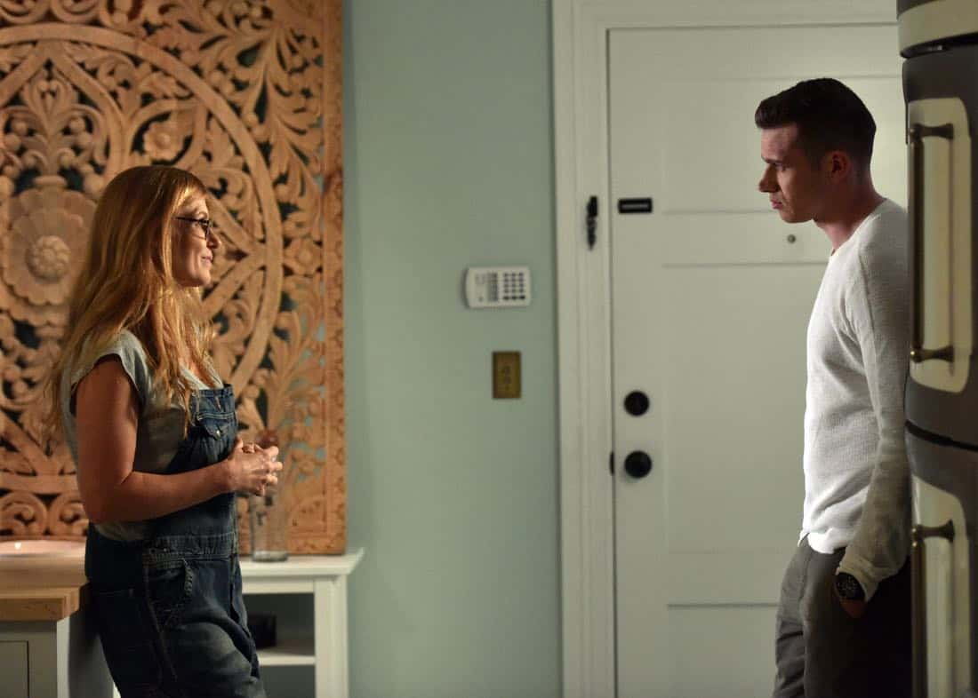 "9-1-1: L-R: Connie Britton and Oliver Stark in the all-new ""Point of Origin"" episode of 9-1-1 airing Wednesday, Jan. 31 (9:00-10:00 PM ET/PT) on FOX. CR: FOX. © 2018 FOX Broadcasting."
