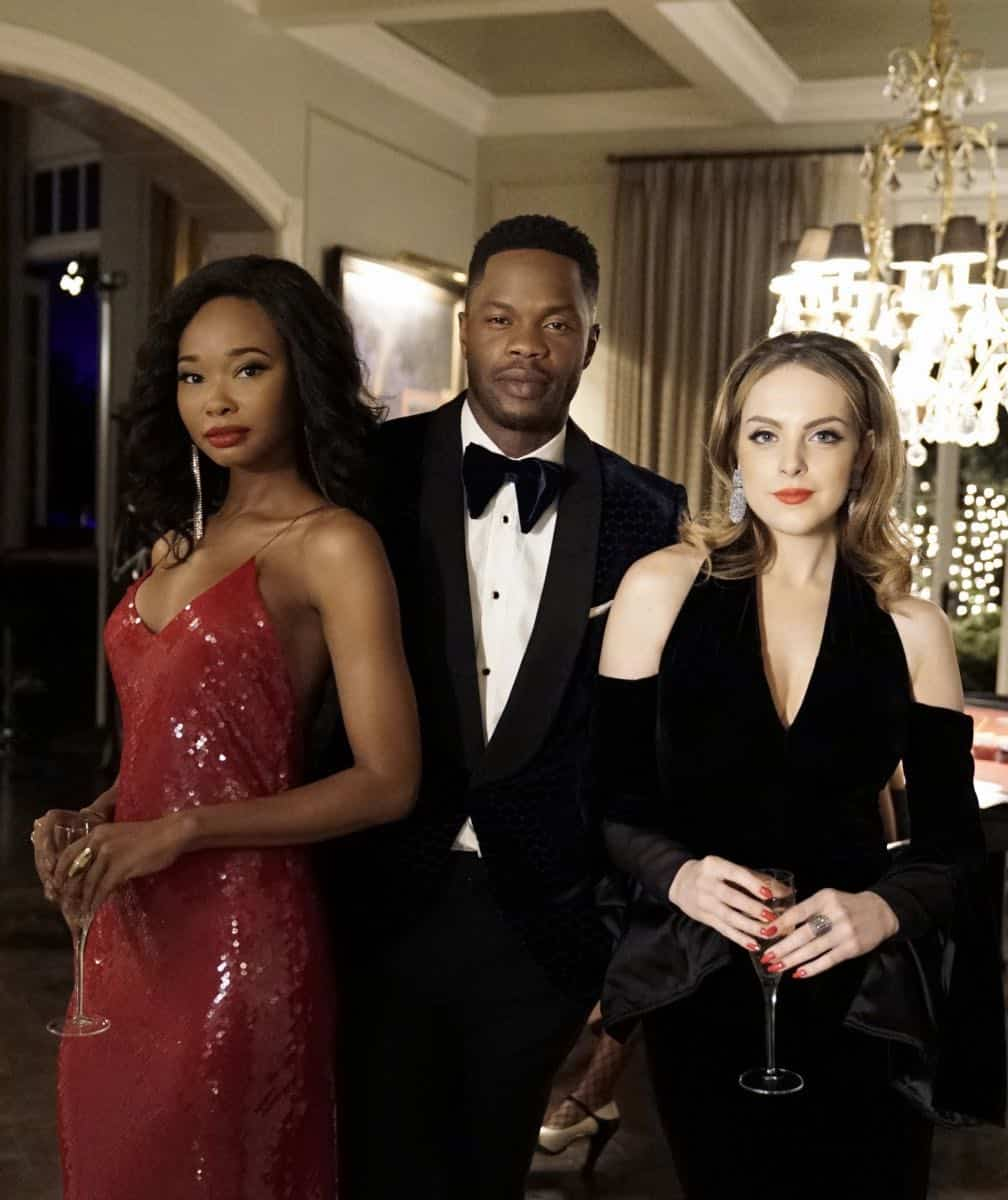 "Dynasty -- ""Promises You Can't Keep"" -- Image Number: DYN112a_0643b.jpg -- Pictured (L-R): Wakeema Hollis as Monica, Sam Adegoke as Jeff and Elizabeth Gillies as Fallon -- Photo: Jace Downs/The CW -- © 2018 The CW Network, LLC. All Rights Reserved."