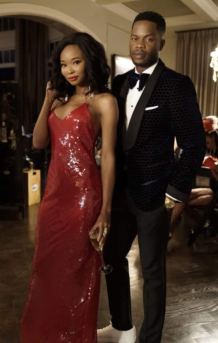 "Dynasty -- ""Promises You Can't Keep"" -- Image Number: DYN112a_0654b.jpg -- Pictured (L-R): Wakeema Hollis as Monica and Sam Adegoke as Jeff -- Photo: Jace Downs/The CW -- © 2018 The CW Network, LLC. All Rights Reserved."