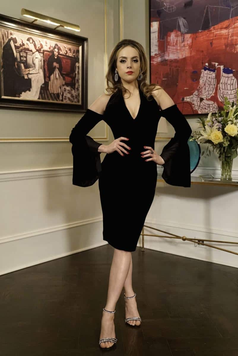 "Dynasty -- ""Promises You Can't Keep"" -- Image Number: DYN112a_0046b.jpg -- Pictured: Liz Gillies as Fallon -- Photo: Jace Downs/The CW -- © 2018 The CW Network, LLC. All Rights Reserved."