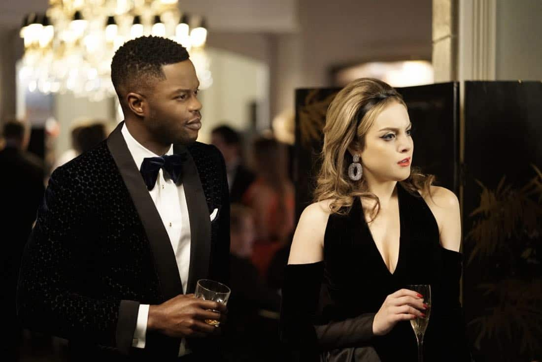 "Dynasty -- ""Promises You Can't Keep"" -- Image Number: DYN112b_0503b.jpg -- Pictured (L-R): Sam Adegoke as Jeff and Elizabeth Gillies as Fallon -- Photo: Jace Downs/The CW -- © 2018 The CW Network, LLC. All Rights Reserved."