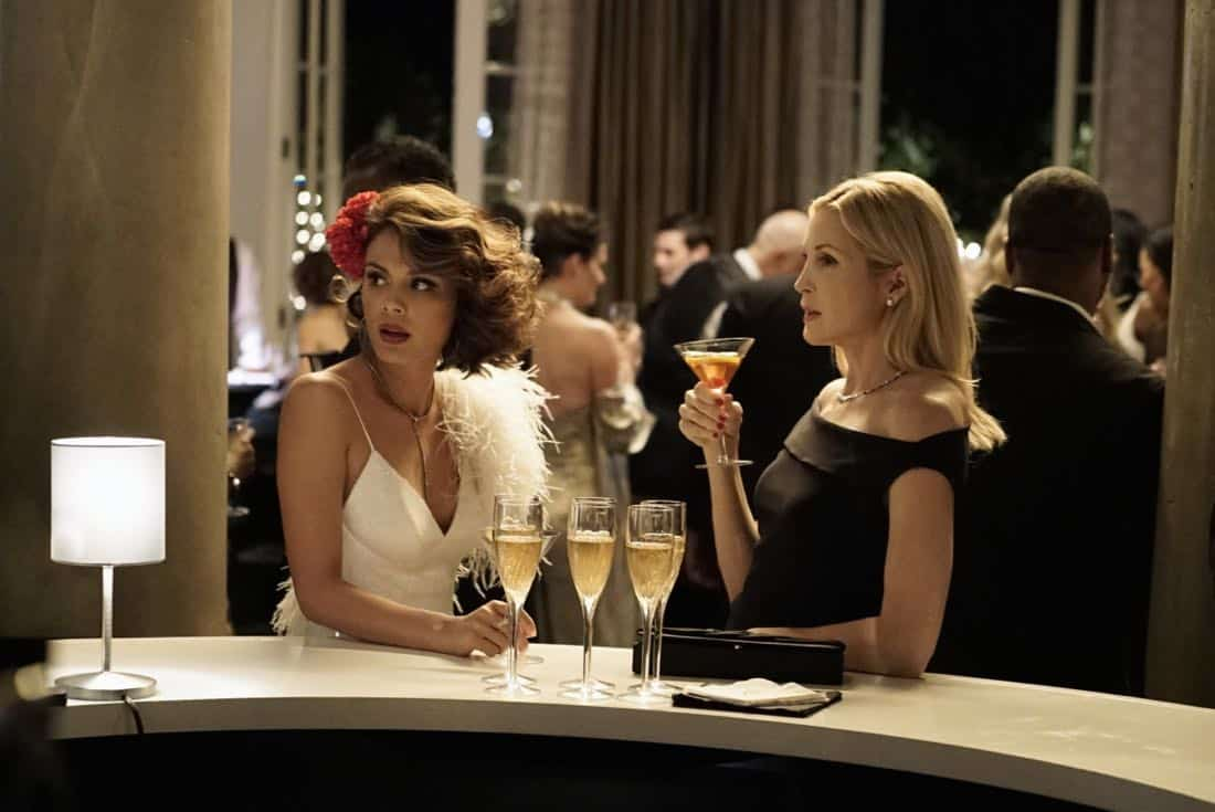 "Dynasty -- ""Promises You Can't Keep"" -- Image Number: DYN112b_0760b.jpg -- Pictured (L-R): Nathalie Kelley as Cristal and Kelly Rutherford as Melissa Daniels -- Photo: Jace Downs/The CW -- © 2018 The CW Network, LLC. All Rights Reserved."