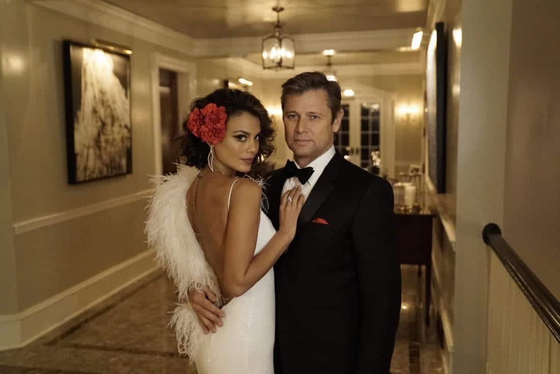"Dynasty -- ""Promises You Can't Keep"" -- Image Number: DYN112a_0102b.jpg -- Pictured (L-R): Nathalie Kelley as Cristal and Grant Show as Blake -- Photo: Jace Downs/The CW -- © 2018 The CW Network, LLC. All Rights Reserved."