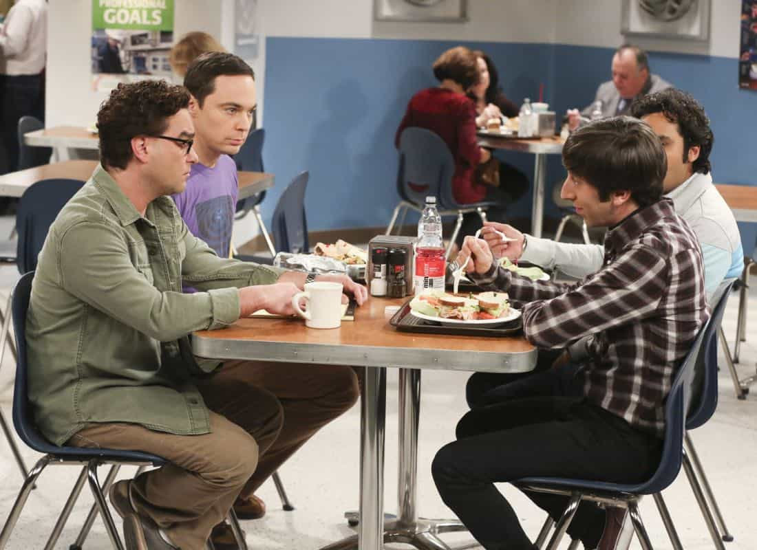 """The Novelization Correlation"" -- Pictured: Leonard Hofstadter (Johnny Galecki), Sheldon Cooper (Jim Parsons) and Howard Wolowitz (Simon Helberg). When Sheldon petitions Wil Wheaton to appear on the new Professor Proton show, Wil offers a role to Amy instead.  Also, Penny gets angry when she thinks the female protagonist in Leonard's novel is based on her, on THE BIG BANG THEORY, Thursday, Feb. 1 (8:00-8:31 PM, ET/PT), on the CBS Television Network.   Christine Baranski and Wil Wheaton return to guest star. Photo: Michael Yarish/Warner Bros. Entertainment Inc. © 2018 WBEI. All rights reserved."