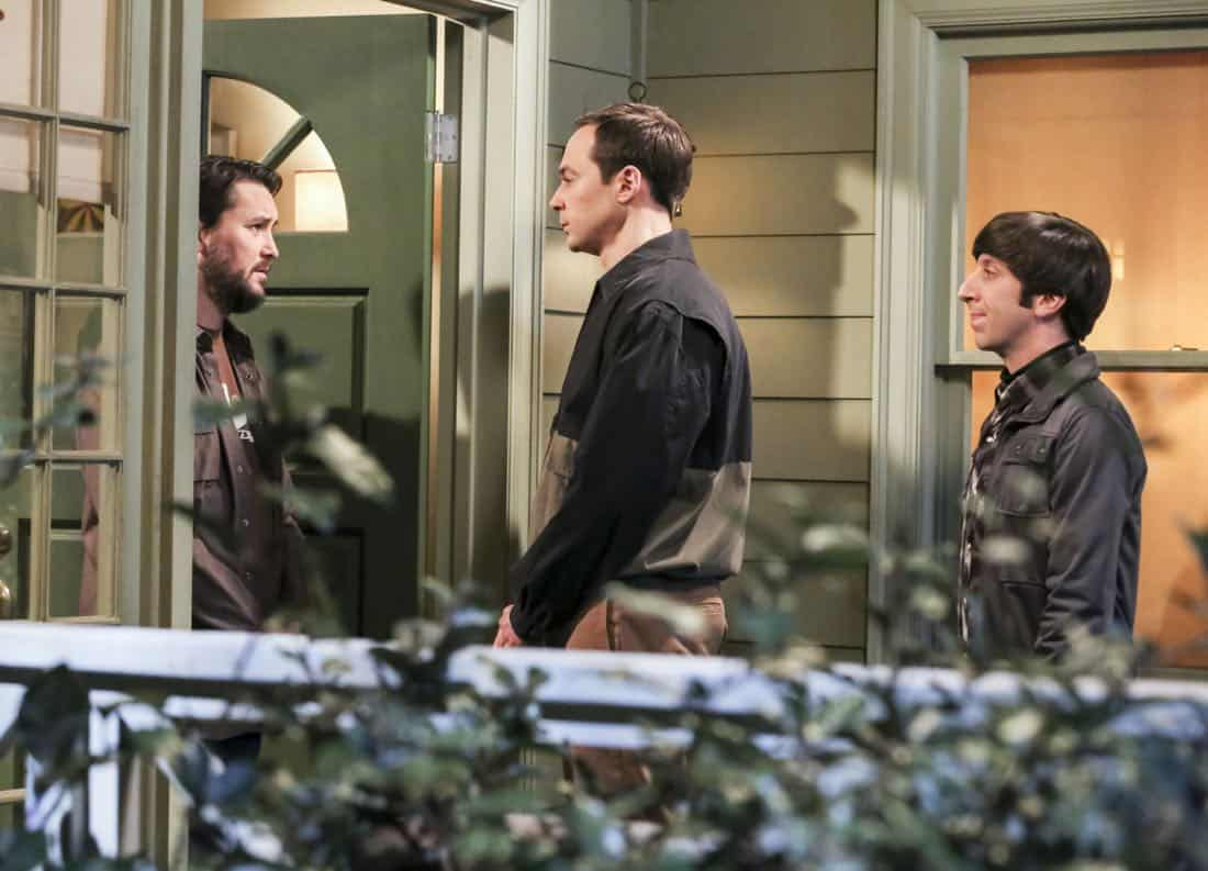"""""""The Novelization Correlation"""" -- Pictured: Will Wheaton (himself), Sheldon Cooper (Jim Parsons) and Howard Wolowitz (Simon Helberg). When Sheldon petitions Wil Wheaton to appear on the new Professor Proton show, Wil offers a role to Amy instead.  Also, Penny gets angry when she thinks the female protagonist in Leonard's novel is based on her, on THE BIG BANG THEORY, Thursday, Feb. 1 (8:00-8:31 PM, ET/PT), on the CBS Television Network.   Christine Baranski and Wil Wheaton return to guest star. Photo: Michael Yarish/Warner Bros. Entertainment Inc. © 2018 WBEI. All rights reserved."""
