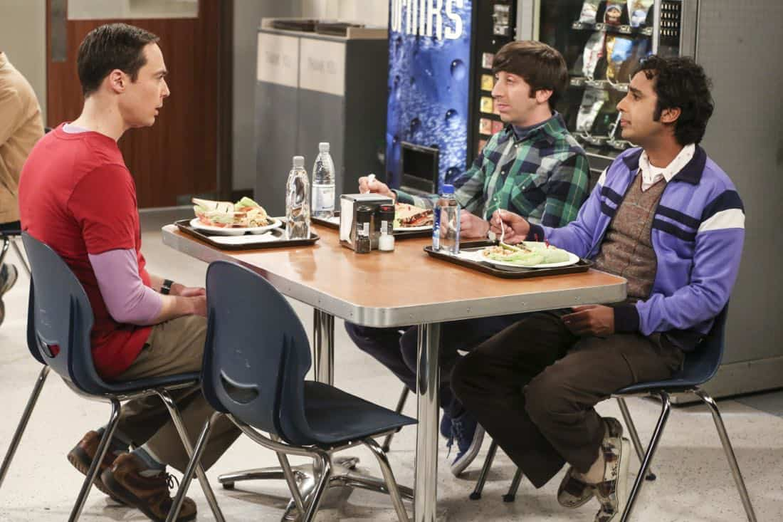 """The Novelization Correlation"" -- Pictured: Sheldon Cooper (Jim Parsons), Howard Wolowitz (Simon Helberg) and Rajesh Koothrappali (Kunal Nayyar). When Sheldon petitions Wil Wheaton to appear on the new Professor Proton show, Wil offers a role to Amy instead.  Also, Penny gets angry when she thinks the female protagonist in Leonard's novel is based on her, on THE BIG BANG THEORY, Thursday, Feb. 1 (8:00-8:31 PM, ET/PT), on the CBS Television Network.   Christine Baranski and Wil Wheaton return to guest star. Photo: Michael Yarish/Warner Bros. Entertainment Inc. © 2018 WBEI. All rights reserved."