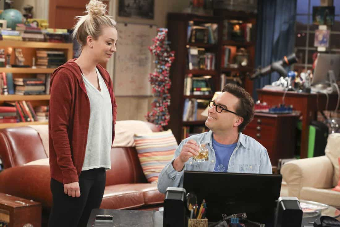 """The Novelization Correlation"" -- Pictured: Penny (Kaley Cuoco) and Leonard Hofstadter (Johnny Galecki). When Sheldon petitions Wil Wheaton to appear on the new Professor Proton show, Wil offers a role to Amy instead.  Also, Penny gets angry when she thinks the female protagonist in Leonard's novel is based on her, on THE BIG BANG THEORY, Thursday, Feb. 1 (8:00-8:31 PM, ET/PT), on the CBS Television Network.   Christine Baranski and Wil Wheaton return to guest star. Photo: Michael Yarish/Warner Bros. Entertainment Inc. © 2018 WBEI. All rights reserved."
