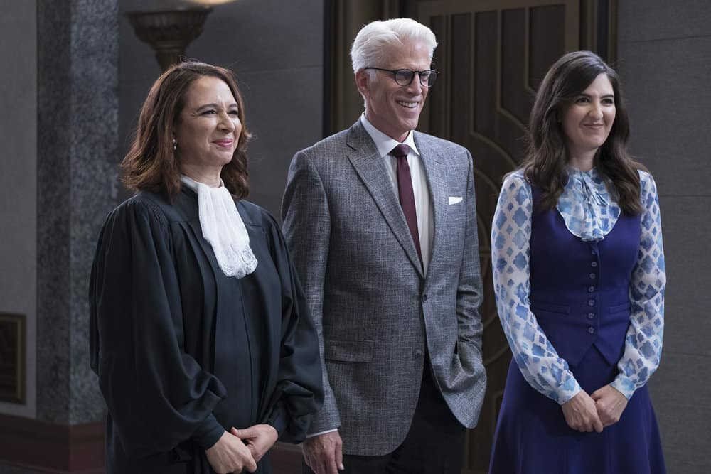 "THE GOOD PLACE -- ""Somewhere Else"" Episode 213 -- Pictured: (l-r) Maya Rudolph as Judge, Ted Danson as Michael, D'Arcy Carden as Janet -- (Photo by: Colleen Hayes/NBC)"