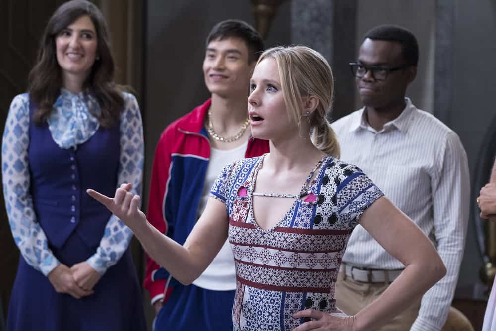 "THE GOOD PLACE -- ""Somewhere Else"" Episode 213 -- Pictured: (l-r) D'Arcy Carden as Janet, Manny Jacinto as Jianyu, Kristen Bell as Eleanor, William Jackson Harper as Chidi -- (Photo by: Colleen Hayes/NBC)"