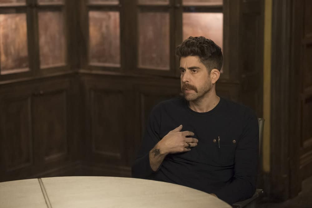 "TAKEN -- ""OPSEC"" Episode 204 -- Pictured: Adam Goldberg as Kilroy -- (Photo by Panagiotis Pantazidis/NBC)"