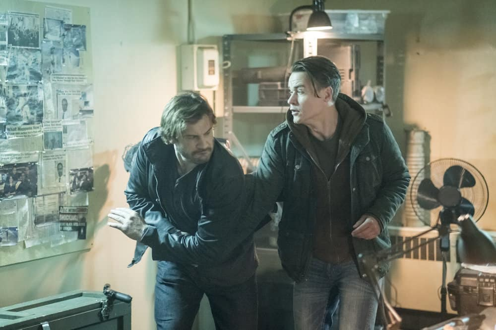 "TAKEN -- ""OPSEC"" Episode 204 -- Pictured: (l-r) Clive Standen as Bryan Mills, Luke Humphrey as Neal -- (Photo by Panagiotis Pantazidis/NBC)"