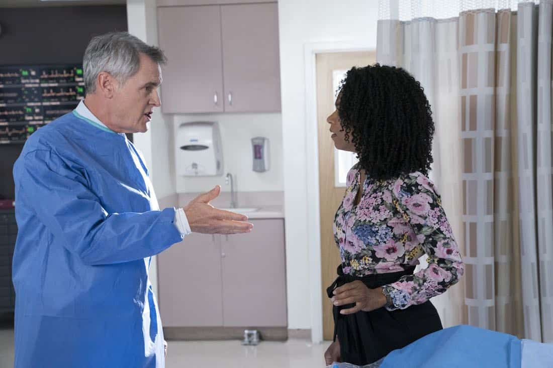 """GREY'S ANATOMY - """"(Don't Fear) the Reaper"""" - The stress of managing the hospital and coming to terms with Ben's decision to become a Seattle firefighter pushes Bailey to her limits, on """"Grey's Anatomy,"""" THURSDAY, FEB. 1 (8:00-9:00 p.m. EST), on The ABC Television Network. (ABC/Mitch Haaseth) MARK MOSES, KELLY MCCREARY"""