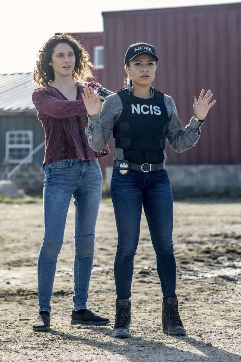 """""""Monster"""" -- After a deadly armed robbery and high-speed chase is connected to an undercover ATF operation, Percy reconnects with her former ATF partner, Jake Roman (L. Steven Taylor), on NCIS: NEW ORLEANS, Tuesday, Jan. 2 (10:00-11:00 PM, ET/PT) on the CBS Television Network. Pictured L-R: Kate Abbruzzese as Claire Kurtz and Shalita Grant as Sonja Percy Photo: Skip Bolen/CBS ©2017 CBS Broadcasting, Inc. All Rights Reserved"""