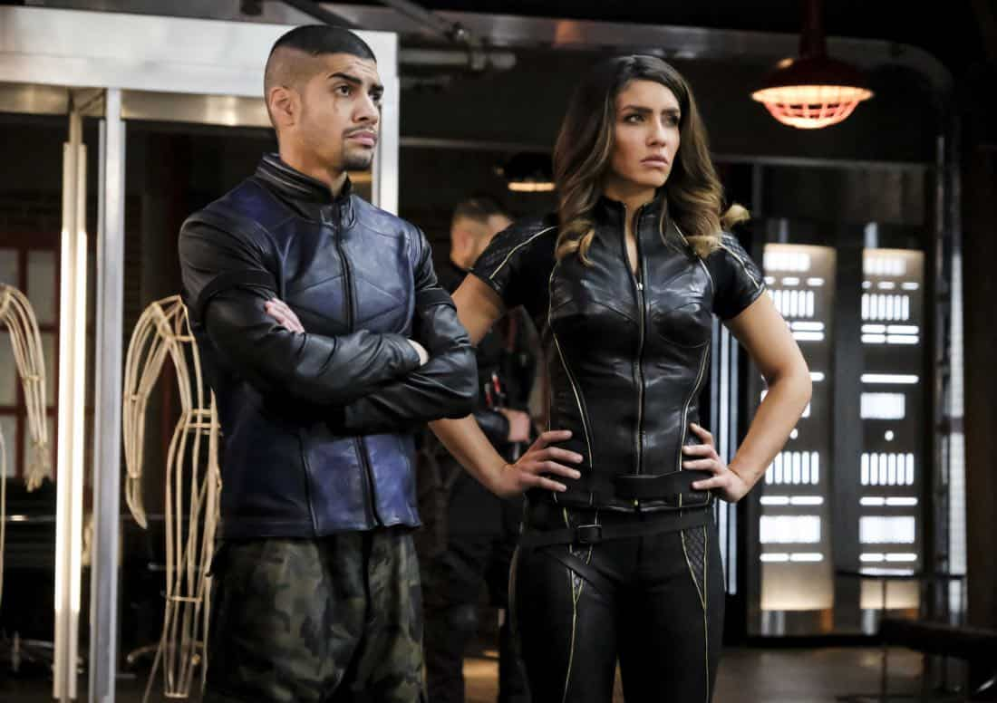 "Arrow -- ""All for Nothing"" -- Image Number: AR612a_0170.jpg -- Pictured (L-R): Rick Gonzalez as Rene Ramirez/Wild Dog and Juliana Harkavy as Dinah Drake/Black Canary -- Photo: Bettina Strauss/The CW -- © 2018 The CW Network, LLC. All rights Reserved."