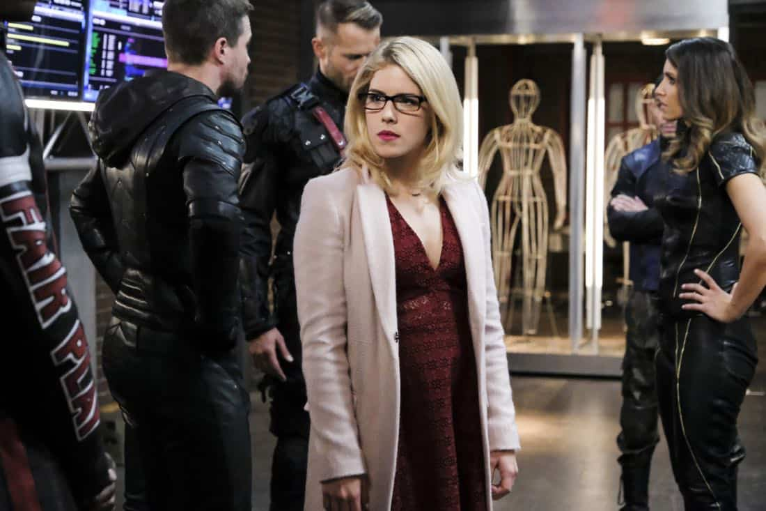 "Arrow -- ""All for Nothing"" -- Image Number: AR612a_0202.jpg -- Pictured: Emily Bett Rickards as Felicity -- Photo: Bettina Strauss/The CW -- © 2018 The CW Network, LLC. All rights Reserved."