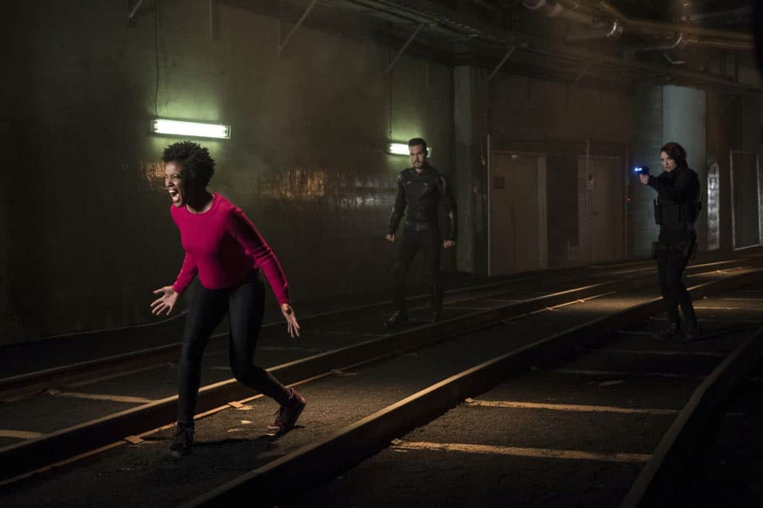 """Supergirl -- """"Both Sides Now"""" -- Image Number: SPG313c_0073.jpg -- Pictured (L-R): Krys Marshall as Julia/Purity, Chris Wood as Mon-El and Chyler Leigh as Alex -- Photo: Katie Yu/The CW -- © 2018 The CW Network, LLC. All Rights Reserved."""