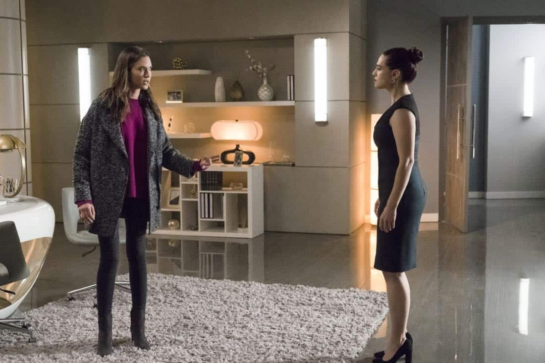 """Supergirl -- """"Both Sides Now"""" -- Image Number: SPG313b_0253.jpg -- Pictured (L-R): Odette Annable as Samantha Arias/Reign and Katie McGrath as Lena Luthor -- Photo: Katie Yu/The CW -- © 2018 The CW Network, LLC. All Rights Reserved."""