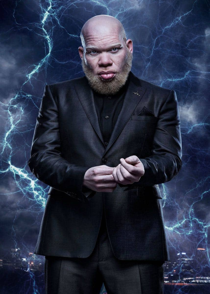 "Black Lightning -- Image BLK_SINGLES_TOBIAS.jpg -- Pictured: Marvin ""Krondon"" Jones III as Tobias -- Photo: Mark Hill/The CW -- © 2018 The CW Network, LLC. All rights reserved"