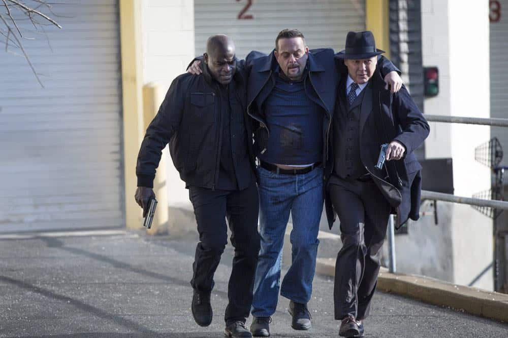 "THE BLACKLIST -- ""The Invisible Hand (#63)"" Episode 513 -- Pictured: (l-r) Hisham Tawfiq as Dembe Zuma, Lenny Venito as Tony Pagliaro, James Spader as Raymond ""Red"" Reddington -- (Photo by: Eric Leibowitz/NBC)"