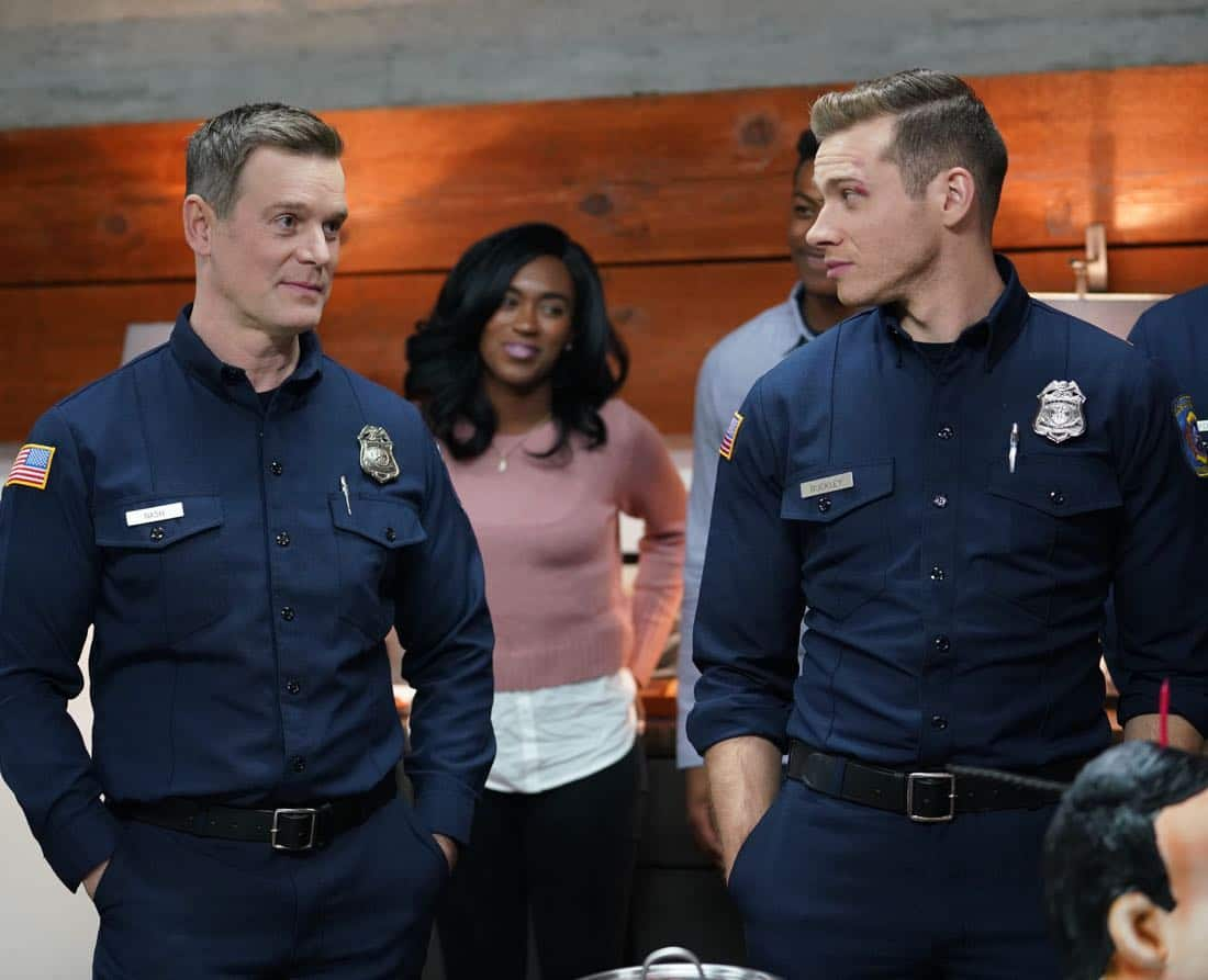 "9-1-1: L-R: Peter Krause and Oliver Stark in the all-new ""Heartbreaker"" episode of 9-1-1 airing Wednesday, Feb. 7 (9:00-10:00 PM ET/PT) on FOX. CR: FOX. © 2018 FOX Broadcasting."