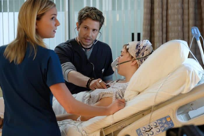 "THE RESIDENT:  L-R: Emily VanCamp, Matt Czuchry and guest star Violett Beane in the ""Identity Crisis"" episode of THE RESIDENT airing Monday, Feb. 5 (8:00-9:00 PM ET/PT) on FOX.  ©2018 Fox Broadcasting Co.  Cr:  Guy D'Alema/FOX"