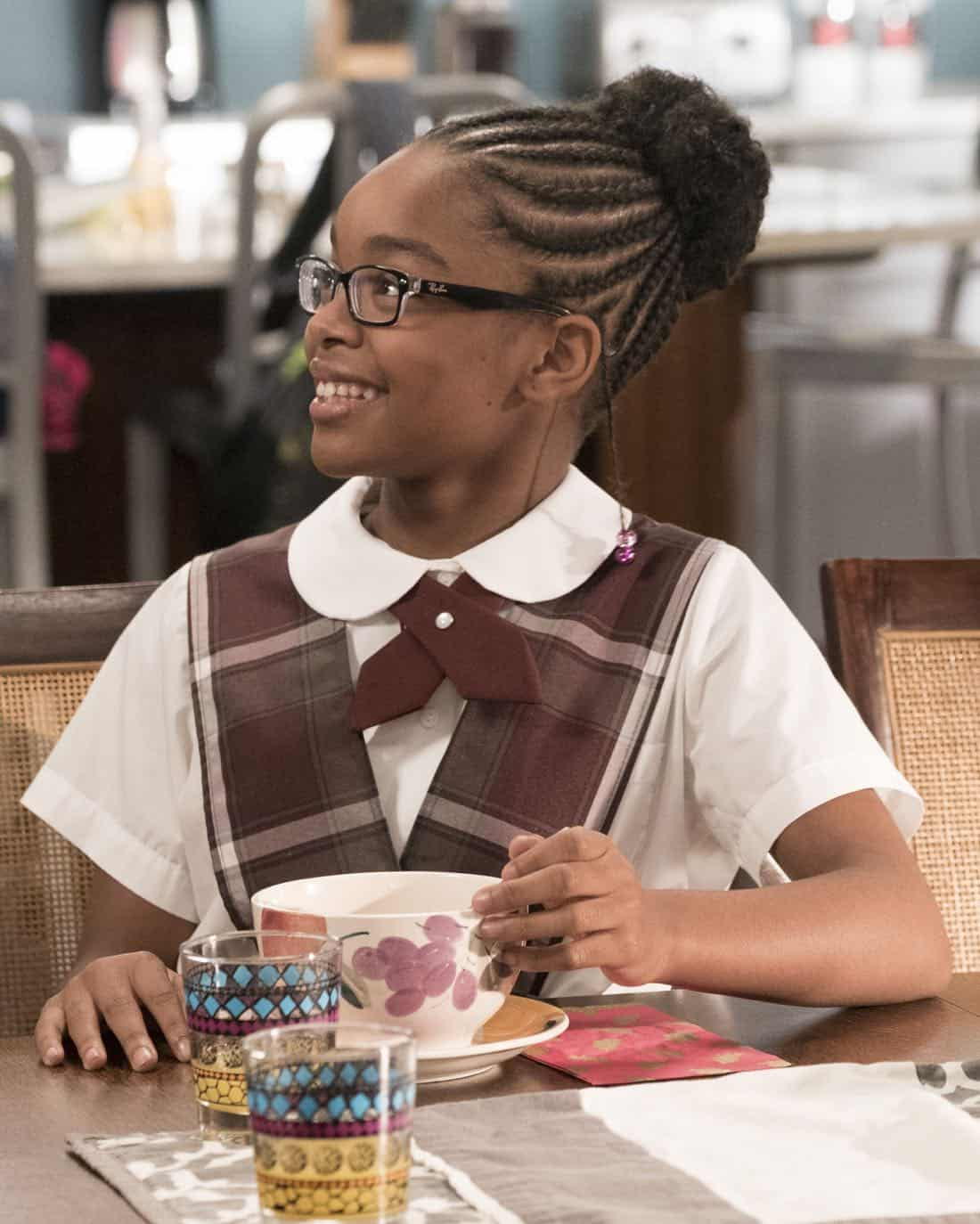 "BLACK-ISH - ""Unkept Woman"" - Dre and Bow's morning routine with the kids is changing now that Bow is taking some time off work. Meanwhile, Junior bonds with Diane now that he is in charge of driving his siblings to school, on ""black-ish,"" TUESDAY, FEB. 6 (9:00-9:30 p.m. EST), on The ABC Television Network. (ABC/Kelsey McNeal) MARSAI MARTIN"