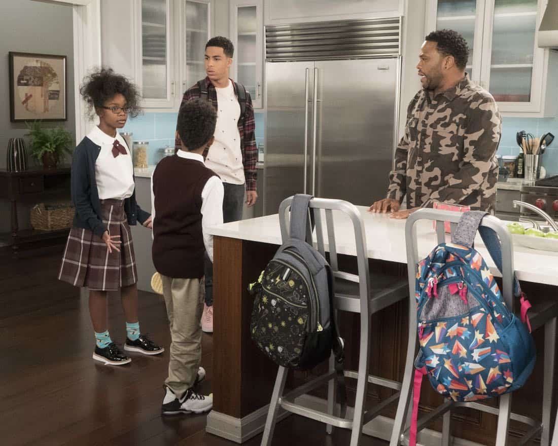 "BLACK-ISH - ""Unkept Woman"" - Dre and Bow's morning routine with the kids is changing now that Bow is taking some time off work. Meanwhile, Junior bonds with Diane now that he is in charge of driving his siblings to school, on ""black-ish,"" TUESDAY, FEB. 6 (9:00-9:30 p.m. EST), on The ABC Television Network. (ABC/Kelsey McNeal) MARSAI MARTIN, MARCUS SCRIBNER, ANTHONY ANDERSON"