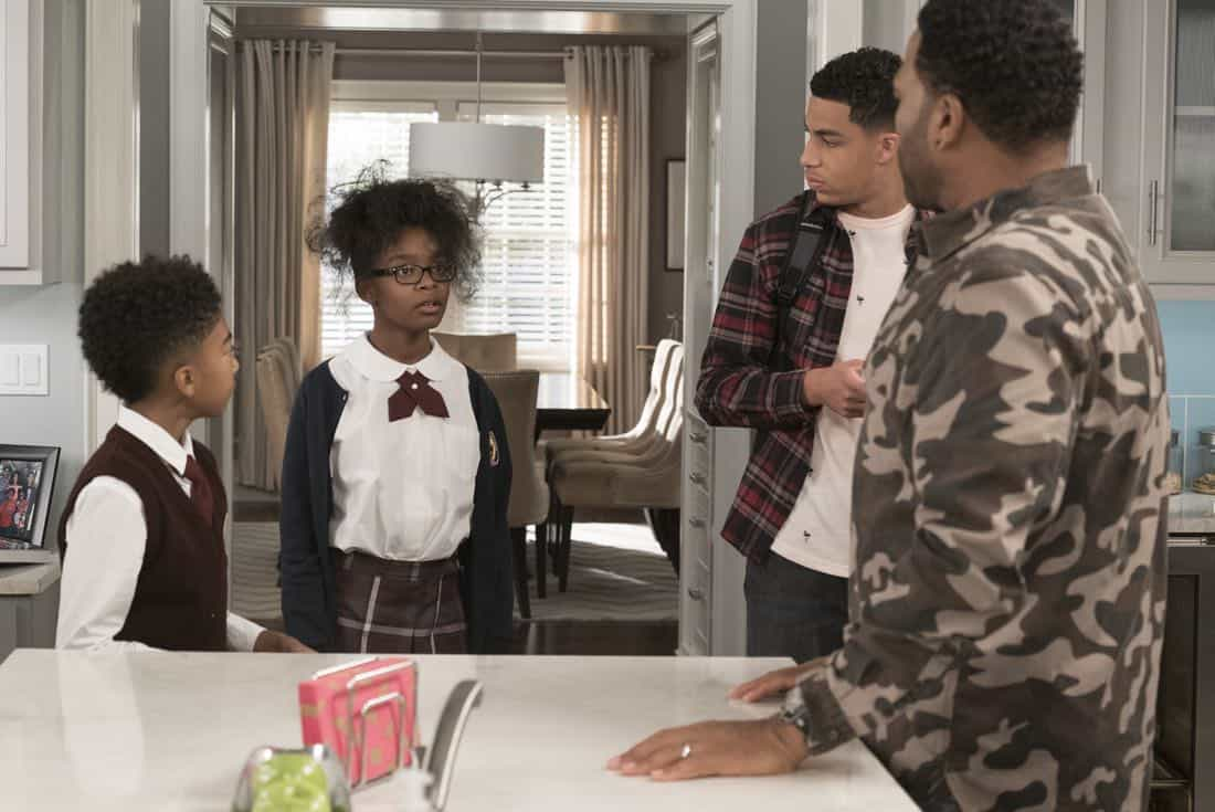 "BLACK-ISH - ""Unkept Woman"" - Dre and Bow's morning routine with the kids is changing now that Bow is taking some time off work. Meanwhile, Junior bonds with Diane now that he is in charge of driving his siblings to school, on ""black-ish,"" TUESDAY, FEB. 6 (9:00-9:30 p.m. EST), on The ABC Television Network. (ABC/Kelsey McNeal) MILES BROWN, MARSAI MARTIN, MARCUS SCRIBNER, ANTHONY ANDERSON"