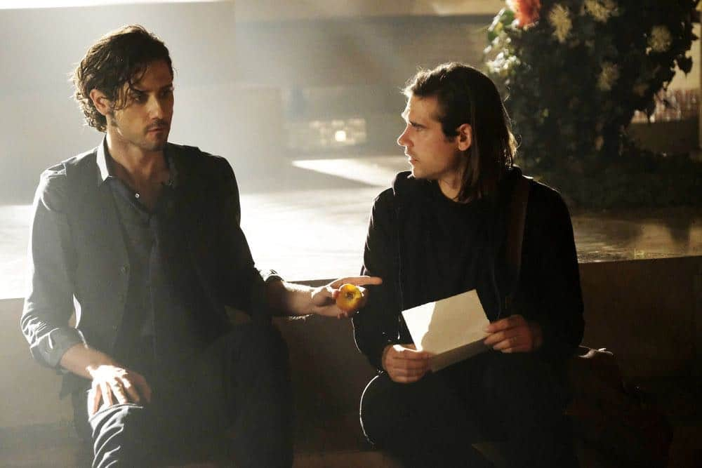 "THE MAGICIANS -- ""A Life in the Day"" Episode 305 -- Pictured: (l-r) Hale Appleman as Eliot Waugh, Jason Ralph as Quentin Coldwater -- (Photo by: Alan Zenuk/Syfy)"
