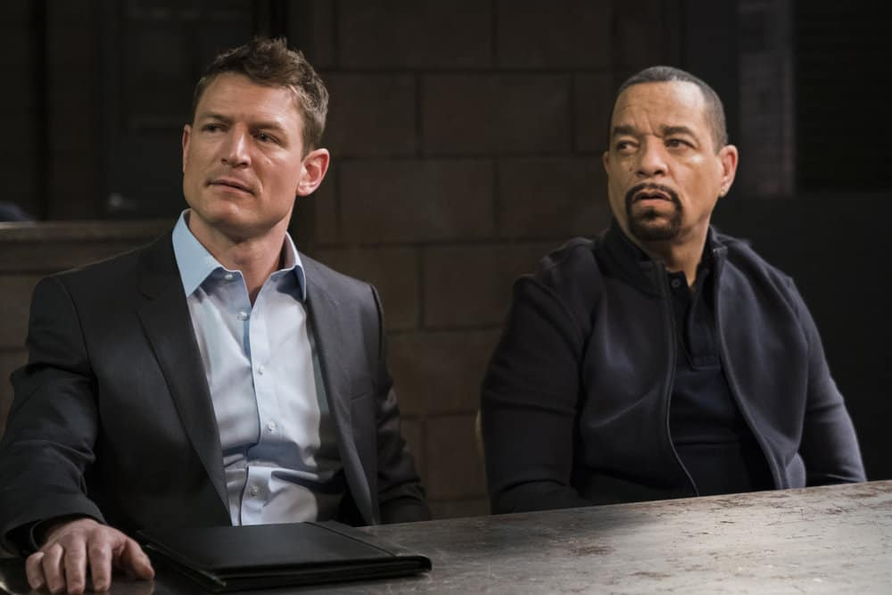 "LAW & ORDER: SPECIAL VICTIMS UNIT -- ""In Loco Parentis"" Episode 1915 -- Pictured: (l-r) Philip Winchester as Peter Stone, Ice T as Odafin ""Fin"" Tutuola -- (Photo by: Michael Parmelee/NBC)"