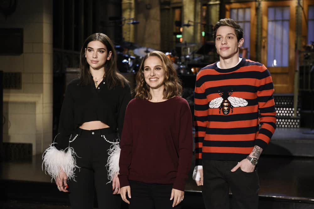 "SATURDAY NIGHT LIVE -- ""Natalie Portman"" Episode 1738 -- Pictured: (l-r) Musical Guest Dua Lipa, with Host Natalie Portman and Pete Davidson during a promo in Studio 8H -- (Photo by: Rosalind O'Connor/NBC)"